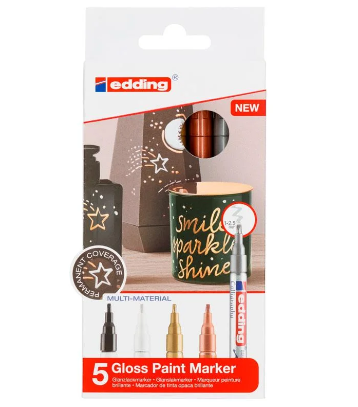 Купить Набор маркеров декоративных, лаковых для каллиграфии Edding 5 шт, 1-4 мм Металлик, Германия