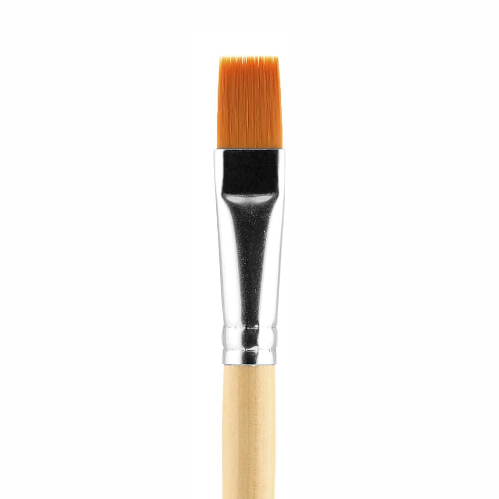 Купить Кисть синтетика №16 плоская Альбатрос Хобби упругая, длинная ручка, Россия