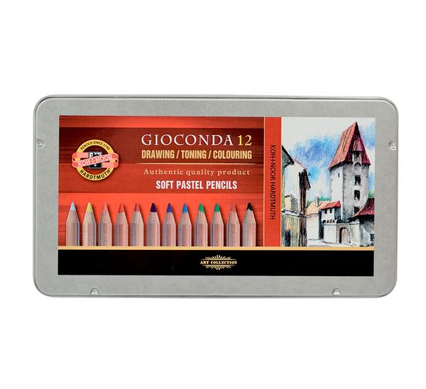 Купить Набор карандашей пастельных Koh-I-Noor Gioconda 12 шт в металле, KOH–I–NOOR, Чехия