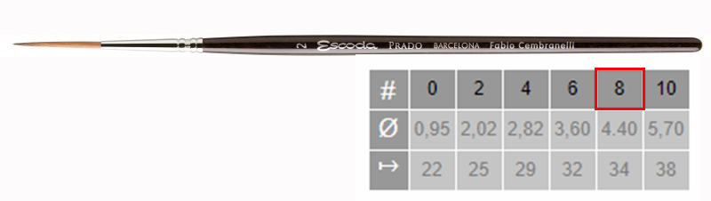 Купить Кисть синтетика №8 круглая удлиненная Escoda Prado 1469 короткая ручка, Испания