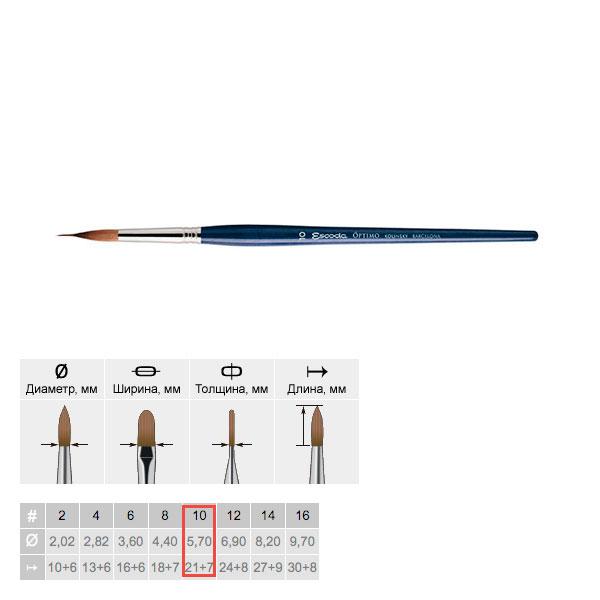 Купить Кисть колонок №10 круглая графическая Escoda Optimo 1310 короткая ручка, Испания