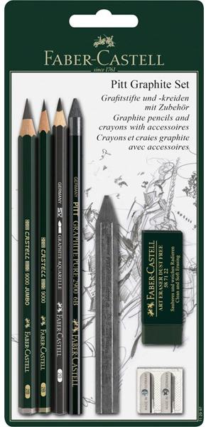 Купить Пастельные карандаши PITT и мелки PITT Graphite, в блистере, 7 предметов, Faber–Сastell, Германия