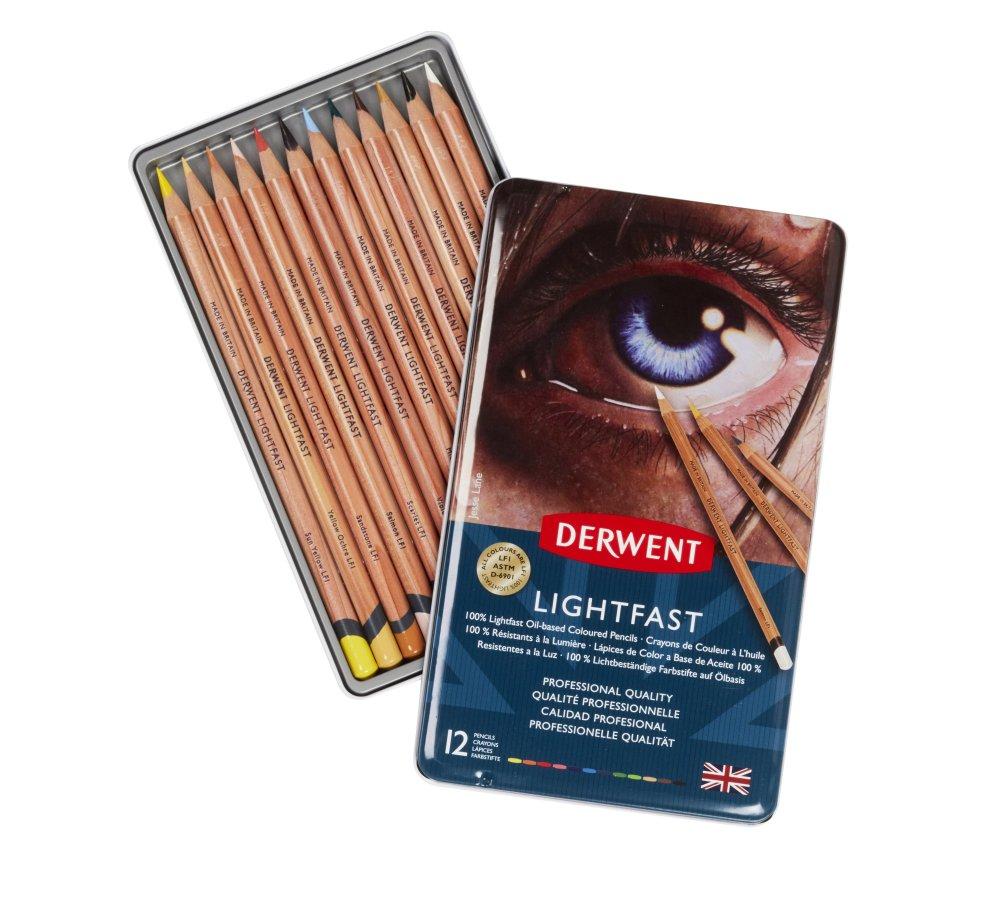 Набор карандашей цветных на масляной основе Derwent Lightfast 12 шт в метал кор.  - купить со скидкой