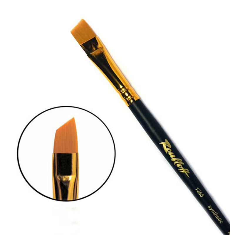 Купить Кисть синтетика №10 скошенная Roubloff 1365 короткая ручка, матовая, Россия