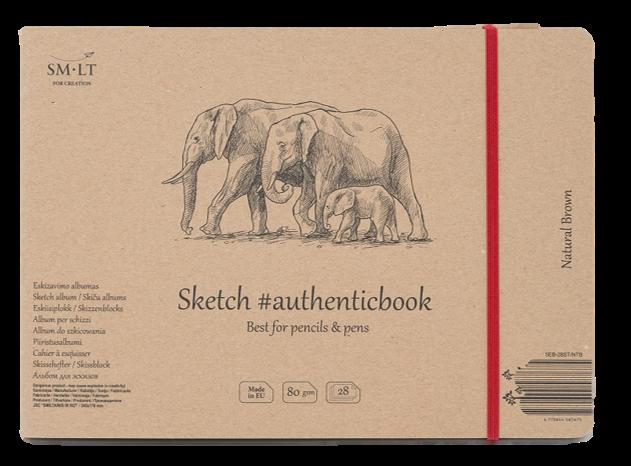 Купить Скетчбук Smiltainis Brown #authenticbook (крафт) с резинкой 24, 5x17, 6 см 28 л 135 г, Литва