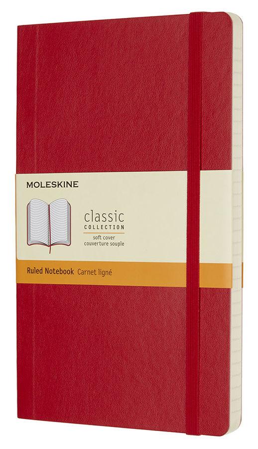Записная книжка в линейку Moleskine Classic Soft 130х210 мм 192 стр мягкая обложка красный.