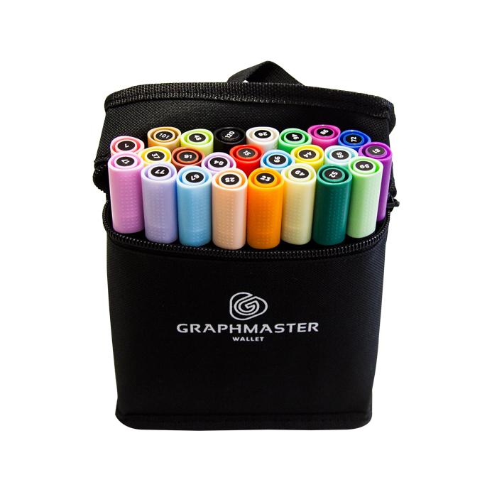 Купить Набор спиртовых маркеров Graphmaster A+B 24 цвета основные + пастельные тона, Германия