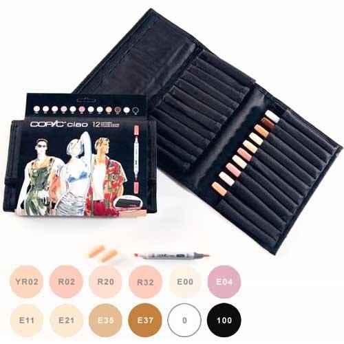 Купить Набор маркеров Copic Ciao Skin Tone 12 шт в пенеле, Copic Too (Izumiya Co Inc), Япония