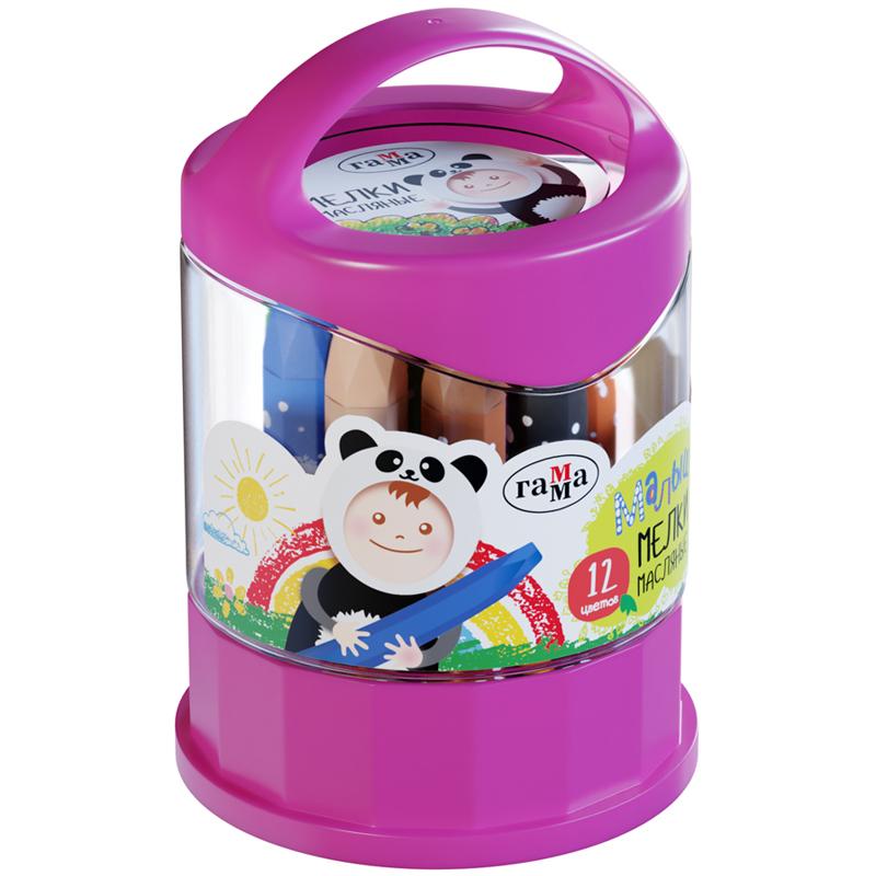 Купить Набор мелков масляных Гамма Малыш 12 цв, шестигранные, пластиковый стакан-подставка, Россия