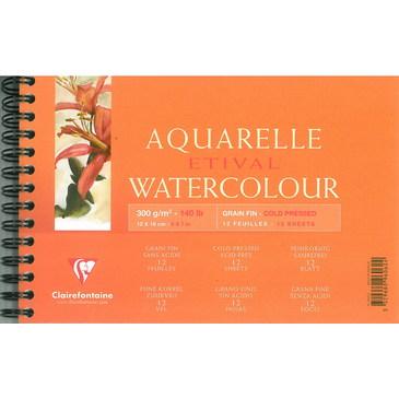 Купить Альбом для акварели на спирали Clairefontaine Etival Fin 12*18 см 12 л 300 г, Франция