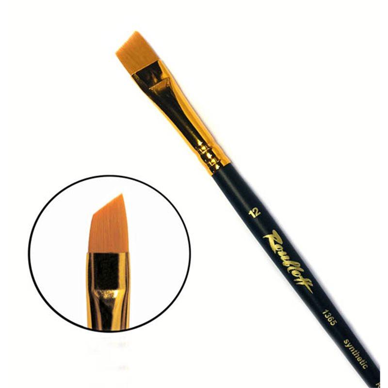 Купить Кисть синтетика №12 скошенная Roubloff 1365 короткая ручка, матовая, Россия