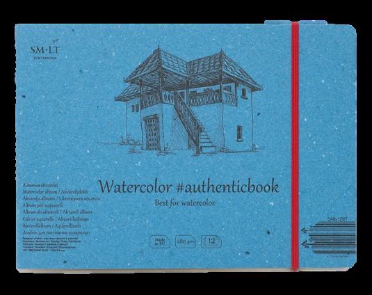 Купить Скетчбук Smiltainis Watercolor #authenticbook с резинкой 24, 5x17, 6 см 12 л 280 г, Литва