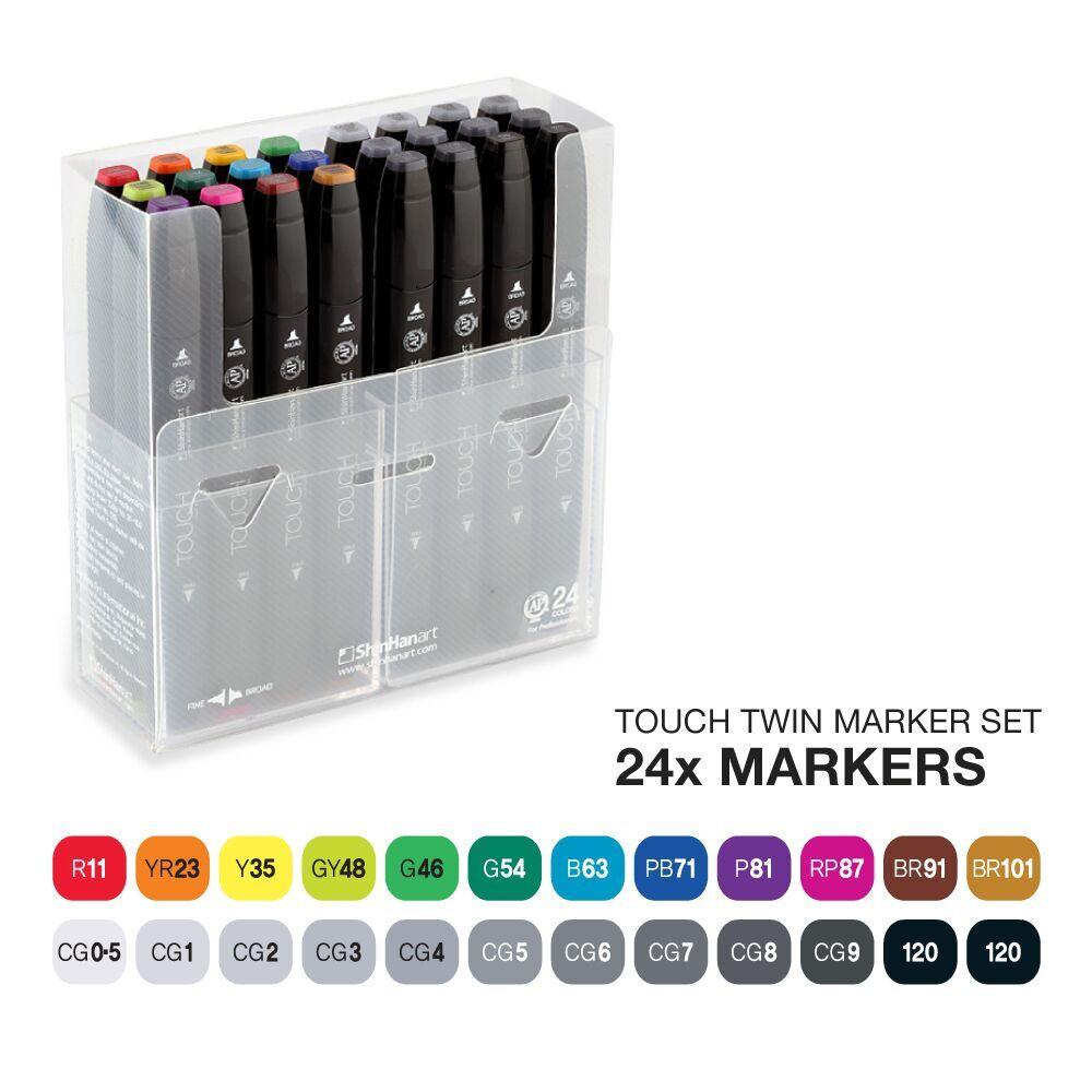 Купить Набор маркеров Touch Twin 24 цв, ShinHan Art (Touch), Южная Корея