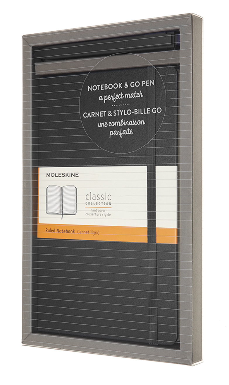 Набор блокнот/ручка Moleskine Go Pen блокнот в линейку Classic черный.