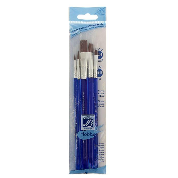 Купить Набор кистей Синтетика Lefranc&Bourgeois Hobby 5 шт (№2/4/4/6/10) короткая ручка, Франция