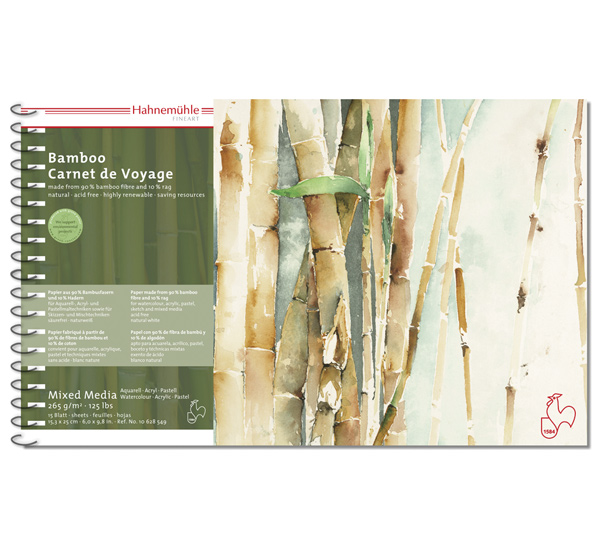 Купить Альбом из бамбуковой бумаги на спирали Hahnemuhle Bamboo 15, 3x25 см 15 л 265 г, HAHNEMUHLE FINEART, Германия