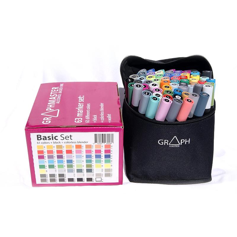 Купить Набор спиртовых маркеров Graphmaster Базовый 63 цвета, Германия