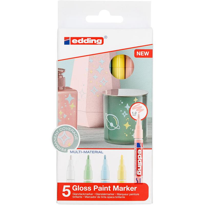 Купить Набор маркеров декоративных, лаковых Edding 5 шт, 1-2 мм Пастельные цвета, Германия