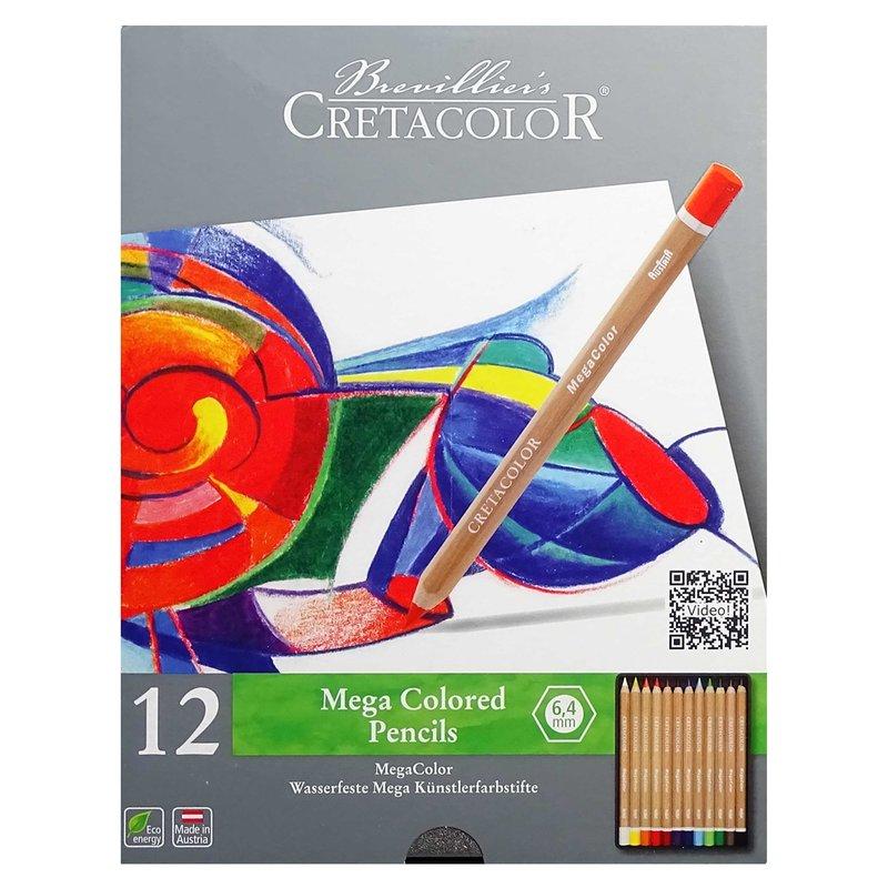 Купить Набор карандашей цветных Cretacolor Megacolor 12 цветов в металлической коробке, Австрия