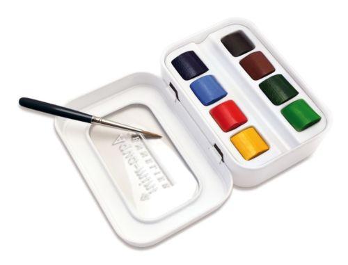 Купить Набор акварели Sennelier Artists Aqua-mini в полукюветах 8 цв + 1 кисть, металл, Франция