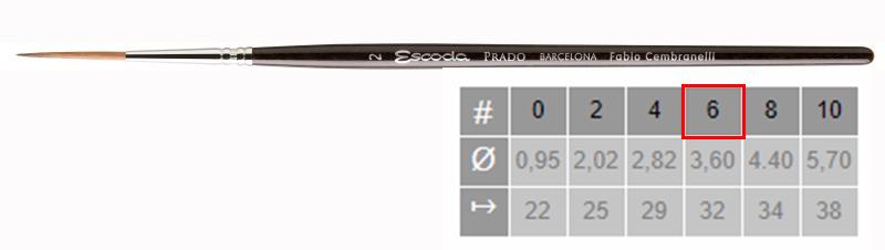 Купить Кисть синтетика №6 круглая удлиненная Escoda Prado 1469 короткая ручка, Испания