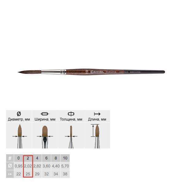 Купить Кисть синтетика №2 круглая Escoda Versatil 1549 короткая ручка коричневая, Испания