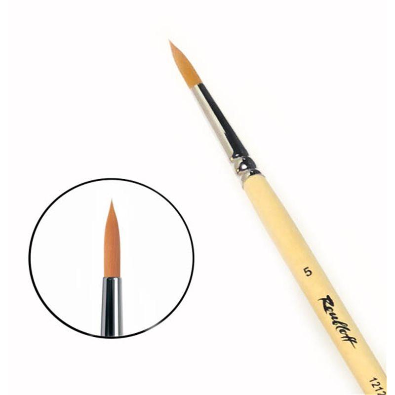 Купить Кисть синтетика №5 круглая Roubloff 1212 длинная ручка п/лак, Россия
