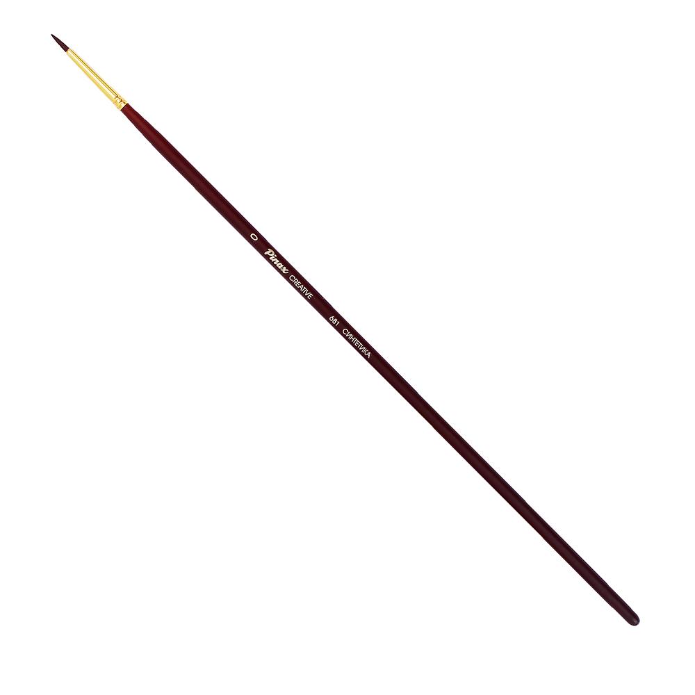 Купить Кисть синтетика №0 круглая Pinax Creative 681 жесткая, длинная ручка, Китай