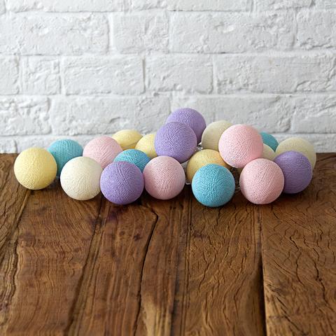 Купить Гирлянда из хлопковых шариков Lares & Penates хэлоу пастель 20, от батареек, Lares & Penates