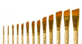 Купить Кисть синтетика №14 скошенная Живописные кисти 1362 длинная ручка п/лак, Россия