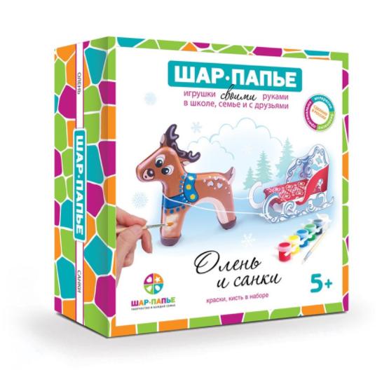 Купить Набор для творчества Шар-Папье Олень и санки , Мир правильных игрушек, Россия