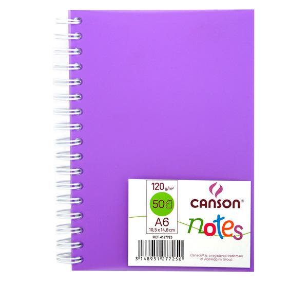 Купить Блокнот для графики на спирали Canson Notes А6 50 л 120 г, обложка пластик. фиолетовая, Франция