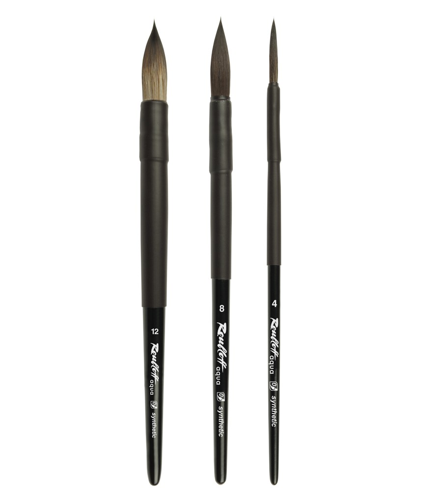 Купить Кисть имитация белки круглая Roubloff Aqua Black ручка короткая черная, покрытие обоймы soft-touch, Россия