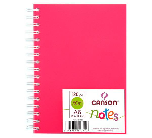 Купить Блокнот для графики на спирали Canson Notes А6 50 л 120 г, обложка пластик. розовая, Франция