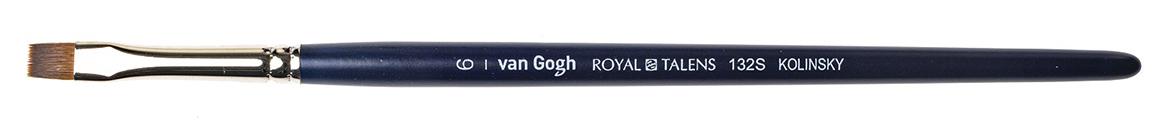 Купить Кисть колонок №6 плоская укороченная Van Gogh 132S короткая ручка, Royal Talens, Россия