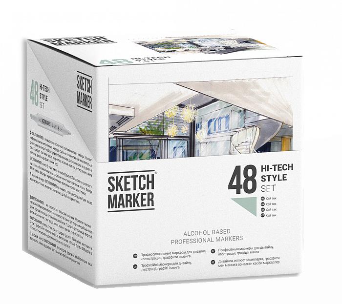 Купить Набор маркеров Sketchmarker 48 Hi Tex Style - Хай тек (48 маркеров в пластиковом кейсе), Япония