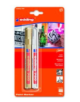 Купить Набор маркеров декоративных, лаковых Edding 2 шт, 2-4 мм кругл наконечник, в блистере Золото/серебр, Германия