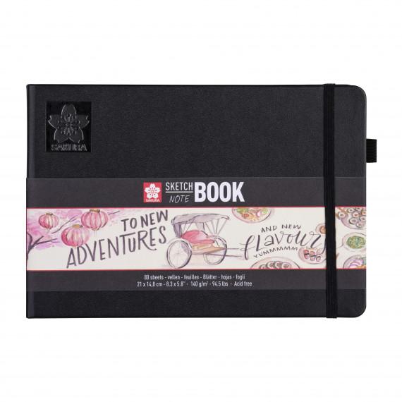 Купить Блокнот для зарисовок Sakura 21х15 см 80 л 140 г, твердая обложкая черный пейзаж, Япония