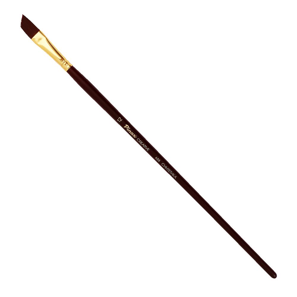 Купить Кисть синтетика №12 скошенная Pinax Creative 688 жесткая, длинная ручка, Китай