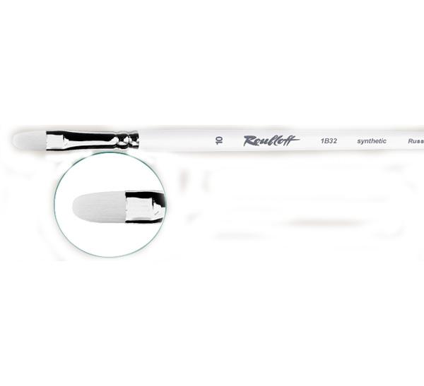 Купить Кисть синтетика белая №16 овальная Roubloff 1B32 длинная ручка, Россия