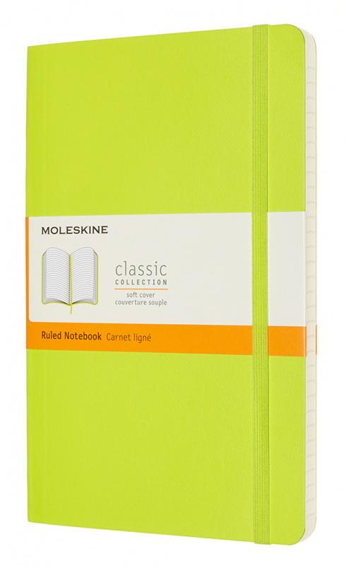 Записная книжка в линейку Moleskine Classic Soft Large 13х21 см 192 стр. обложка мягкая лайм.