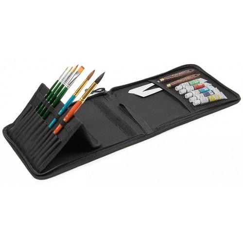 Пенал для кистей на короткой ручке, 12 отд. + карман-сетка
