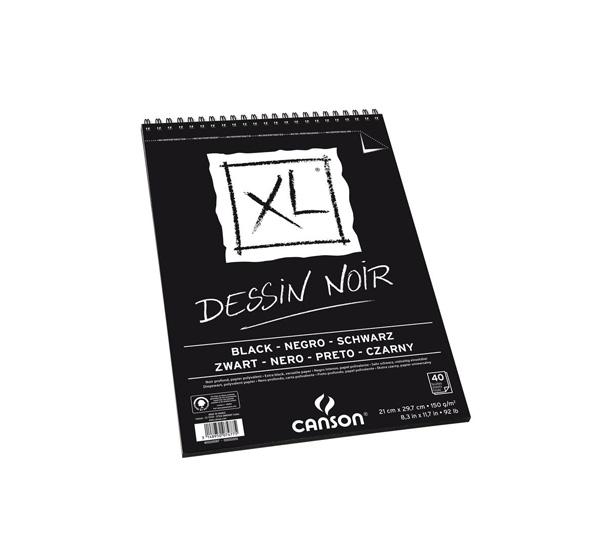 Купить Альбом для графики на спирали Canson XL Black 21х29, 7 см 40 л 150 г, Франция