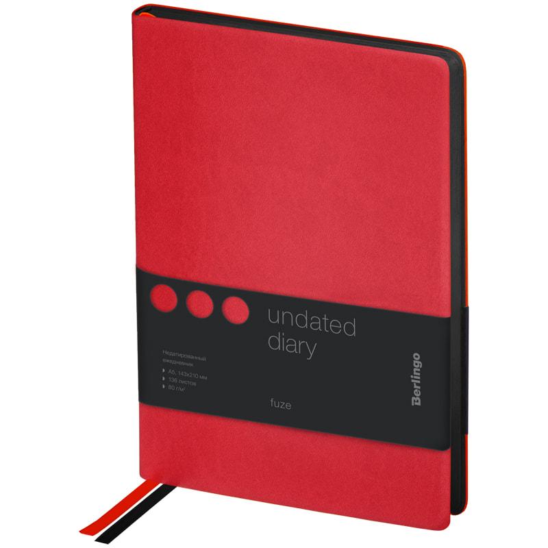 Купить Ежедневник недатированный Berlingo Fuze A5 136 л, кожзам, цветной срез, красный, Россия