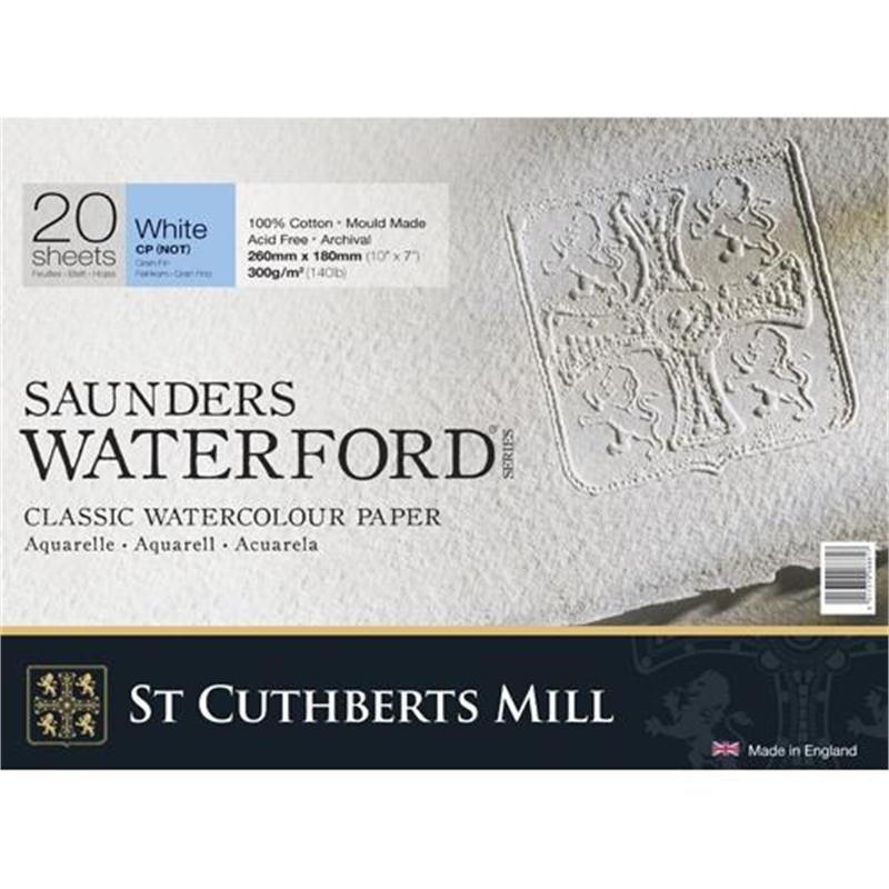 Купить Альбом-склейка для акварели Saunders Waterford C.P. среднее зерно 26х18 см 20 л 300 г белый, St Cuthberts Mill, Великобритания