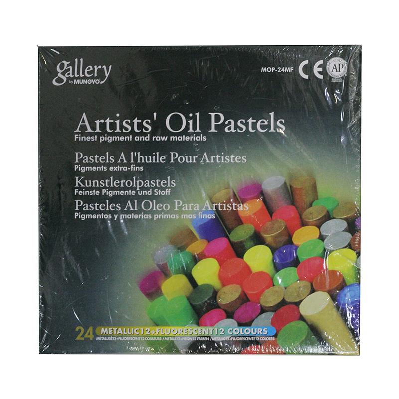 Купить Набор масляной пастели Mungyo 24 цв металлик + флюорисцент, Южная Корея