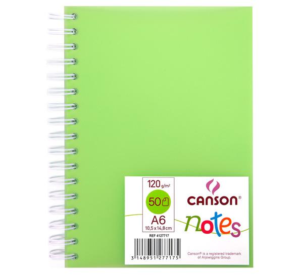 Купить Блокнот для графики на спирали Canson Notes А6 50 л 120 г, обложка пластик. зеленая, Франция