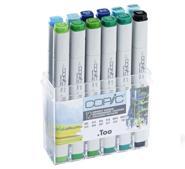 Купить Набор маркеров Copic 12 шт Пейзаж сине-зеленых оттенков, в пластике, Copic Too (Izumiya Co Inc), Япония