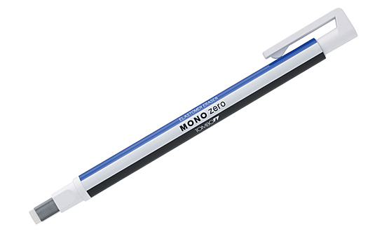 Купить Ластик-ручка Tombow Mono Zero Eraser прямоугольный наконечник, бело-сине-черный, 2, 5х5 мм, Япония