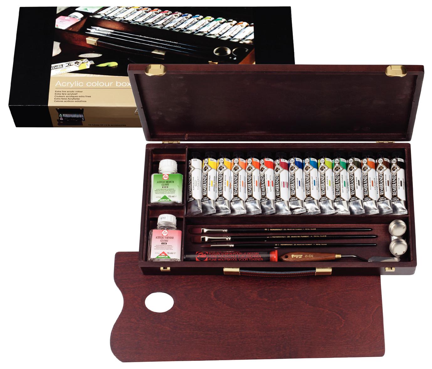 Купить Набор акрила Talens Rembrandt Professional 15 цв*40 мл, в деревянной коробке, Royal Talens